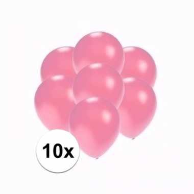 Zakje 10 metallic roze party ballonnen klein