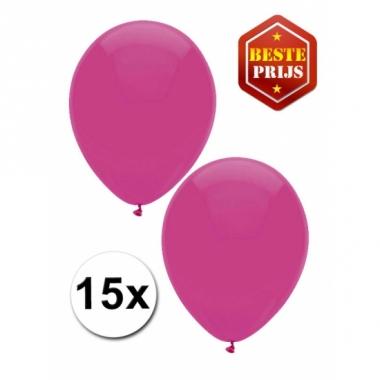 Zakje 15 donker roze party ballonnen