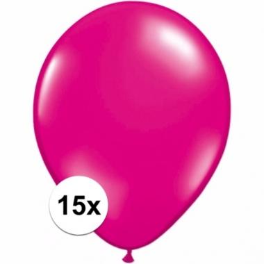 Zakje 15 magenta roze party ballonnen