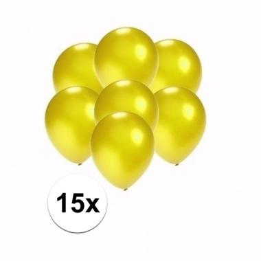 Zakje 15 metallic gele party ballonnen klein