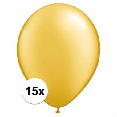 Zakje 15 metallic gouden party ballonnen