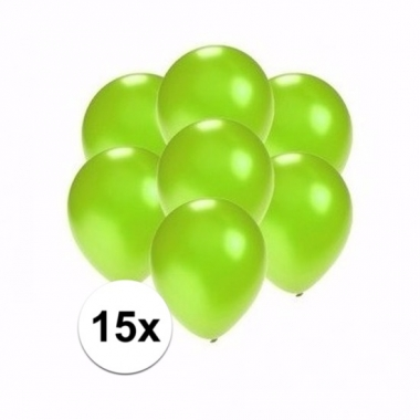 Zakje 15 metallic groene party ballonnen klein