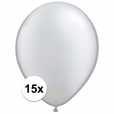Zakje 15 metallic zilveren party ballonnen