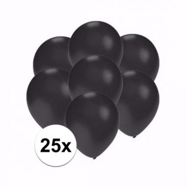 Zakje 25 metallic zwarte party ballonnen klein