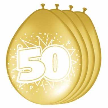 Zakje van 16x ballonnen 50 jaar metallic goud