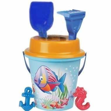 Zandbak emmersetje blauw/oranje 6-delig