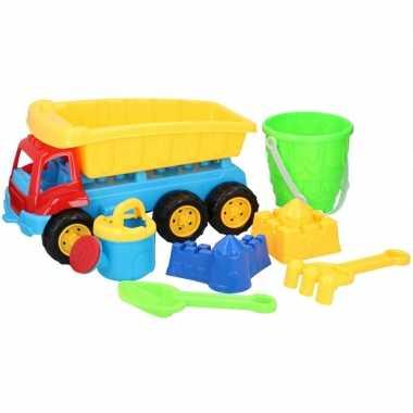 Zandbak speeltjes kiepwagen met schepjes/emmertje 35 cm