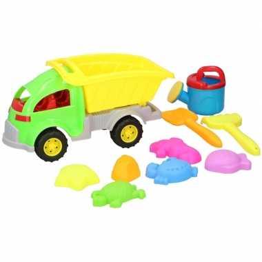 Zandbak speeltjes kiepwagen met schepjes/vormpjes 33 cm