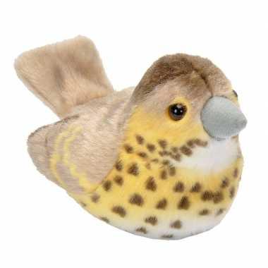 Zangvogel zanglijster van pluche met geluid 13 cm