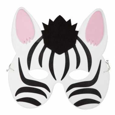 Zebra foam dierenmasker voor kinderen