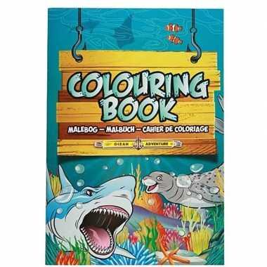 Zeedieren thema a4 kleurboek/tekenboek 24 paginas