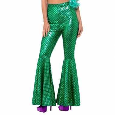 Zeemeerminnen flair flared broek groen voor dames