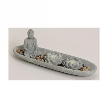 Zen tuintje met lotus theelicht houder