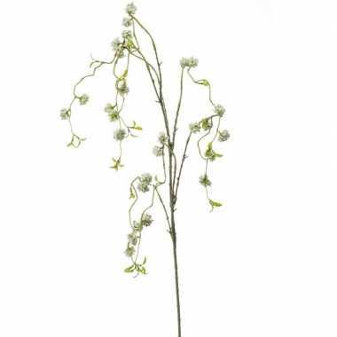 Zijde kunstbloem wilgen bloesem wit 105 cm
