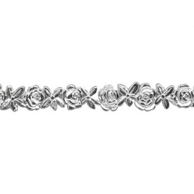 Zilver bloemenlintje van was 24 cm