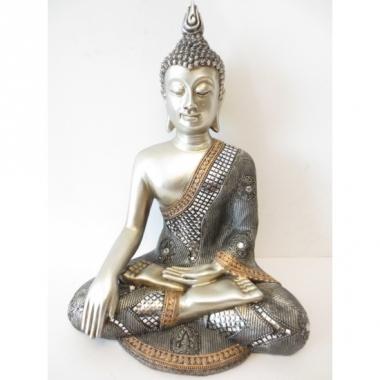 Zilver boedha beeld van polyresin 34 cm