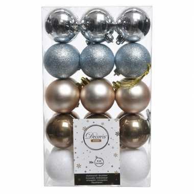 Zilver/bruin/witte kerstboomballen set 6 cm