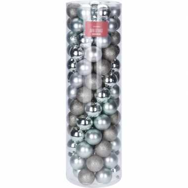 Zilver en mintgroene kerstboomballen set 6 cm