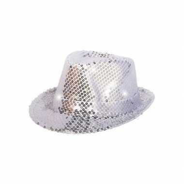 Zilver glitter hoedje met led licht