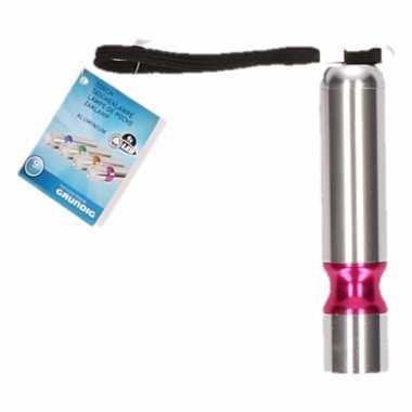 Zilver/roze led camping zaklamp