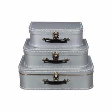 Zilver vintage koffertje 35 cm