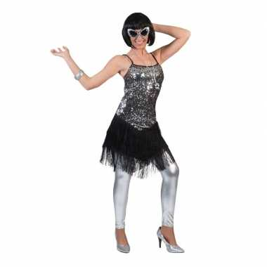 Zilver/zwart jaren 20 jurkje voor dames