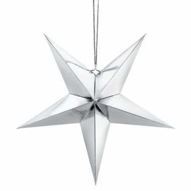 Zilveren 5-puntige ster kerst versiering decoratie 30 cm