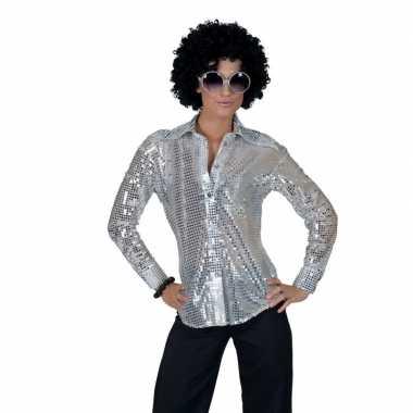 Zilveren 70s disco verkleedkleding blouse voor dames
