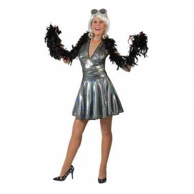 Zilveren 70s disco verkleedkleding rok en top voor dames