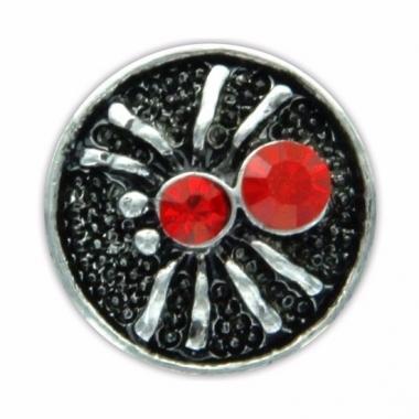 Zilveren chunk met spin rood 1,8 cm