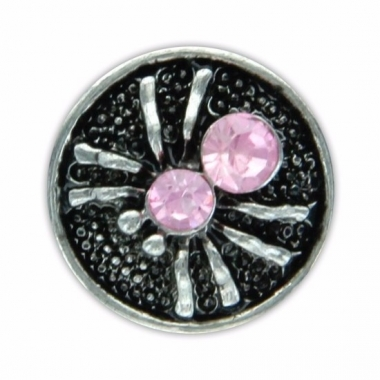 Zilveren chunk met spin roze 1,8 cm
