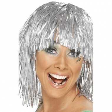 Zilveren damespruik met glitters