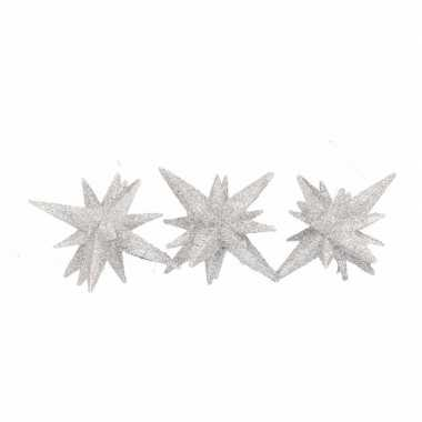 Zilveren decoratie ster 3d 7,5 cm