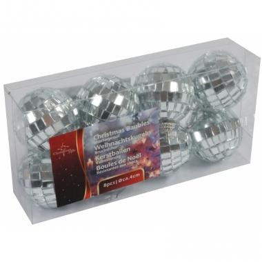Zilveren disco kerstballen 4 cm