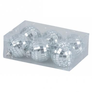 Zilveren disco kerstballen 5 cm