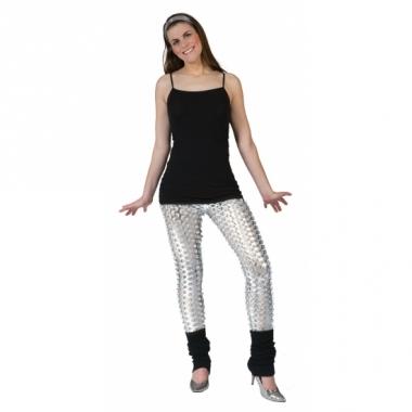 Zilveren disco legging met gaten
