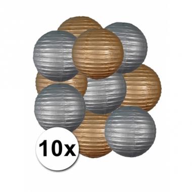 Zilveren en goude feest lampionnen 10x