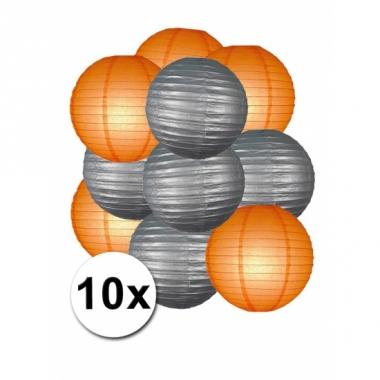 Zilveren en oranje feest lampionnen 10x