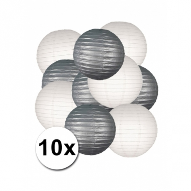 Zilveren en witte feest lampionnen 10x