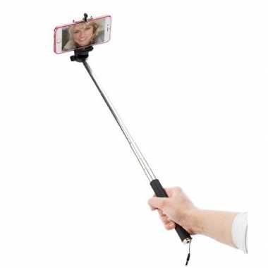 Zilveren fotostick/selfiestick uitschuifbaar tot 116 cm