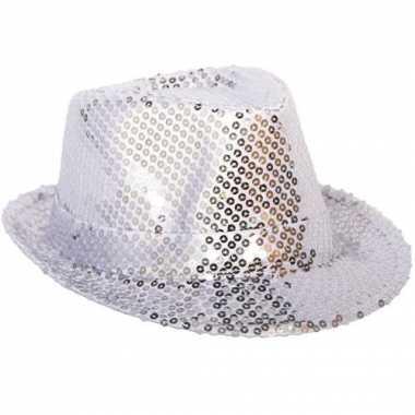 Zilveren glitter hoed pailletten