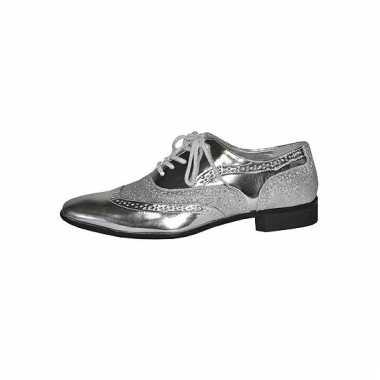 Zilveren heren schoen met veters