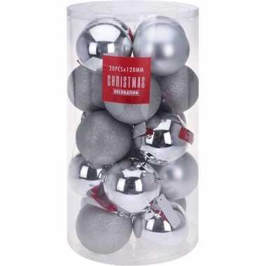 Zilveren kerstboomballen set 12 cm