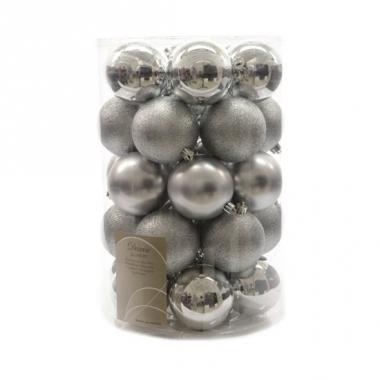 Zilveren kerstversiering kerstballen 34x
