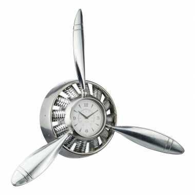 Zilveren klok met vliegtuig propellers 90 cm