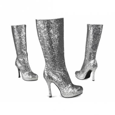 Zilveren laarzen met glitters