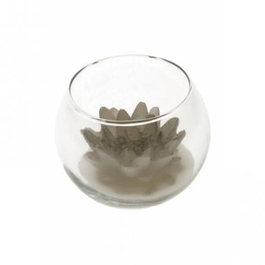 Zilveren lotus kaars in glas 10 x 8 cm