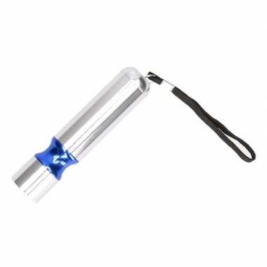 Zilveren met blauw accent led camping zaklamp