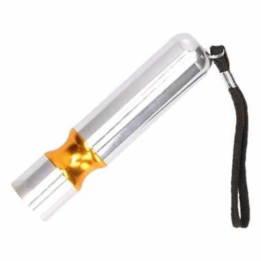 Zilveren met oranje accent led camping zaklamp