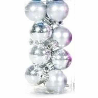 Zilveren mini kerstballen 12 stuks